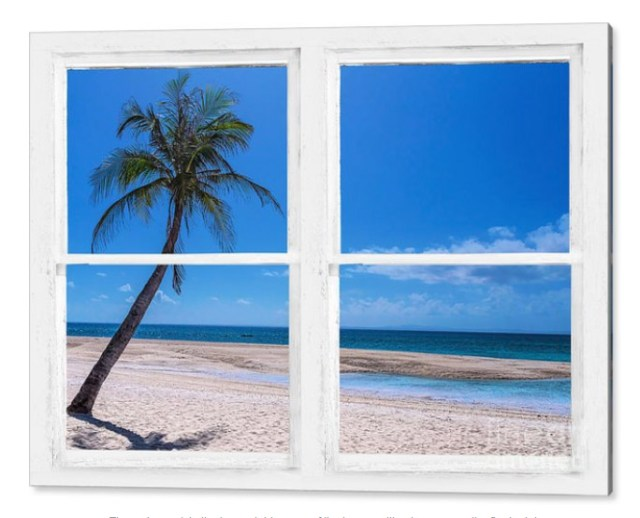 Tropical Paradise Whitewash Picture Window View Acrylic Print