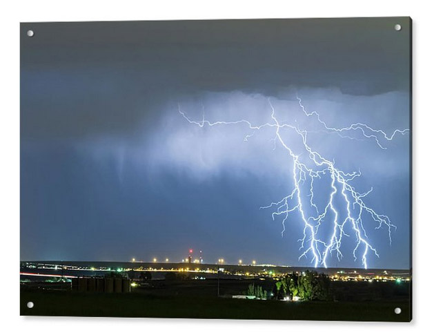 Northeast Colorado Lightning Strike And City Lights Acrylic Prin