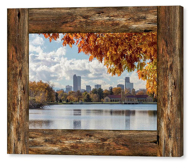 Denver City Skyline Barn Window View Canvas Print