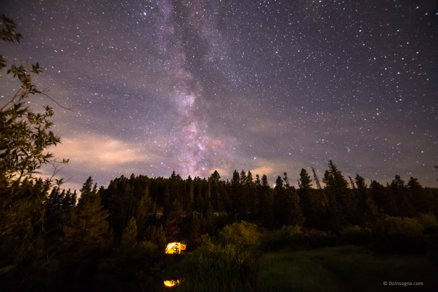Camping Under Nighttime Milkway Stars