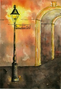 Bourbon Street Lamp Post With Arches Painting by Catherine