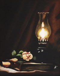 Oil Lamp Still Life Painting by Kim Selig
