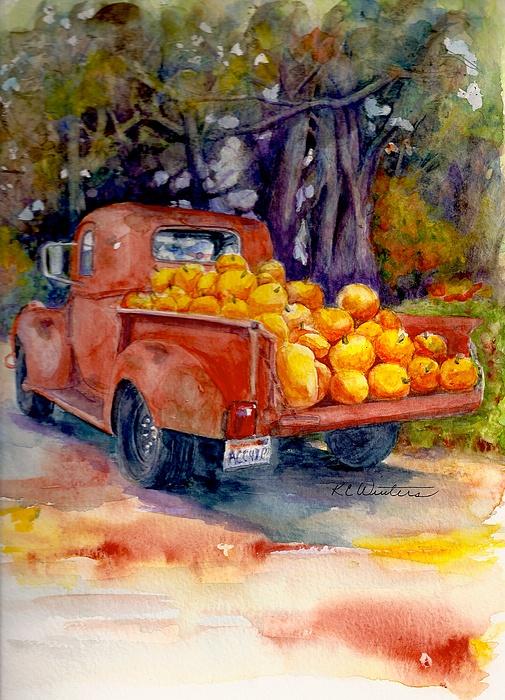 Fall Leaves Watercolor Wallpaper Pumpkin Truck Painting By Kc Winters