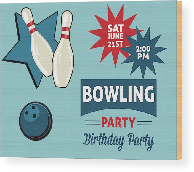 Retro Style Bowling Birthday Party Invitation Template Wood Print by