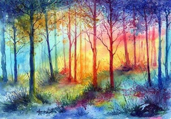Colorful Fall Scene Wallpaper Watercolor Tree Paintings By Anna Armona