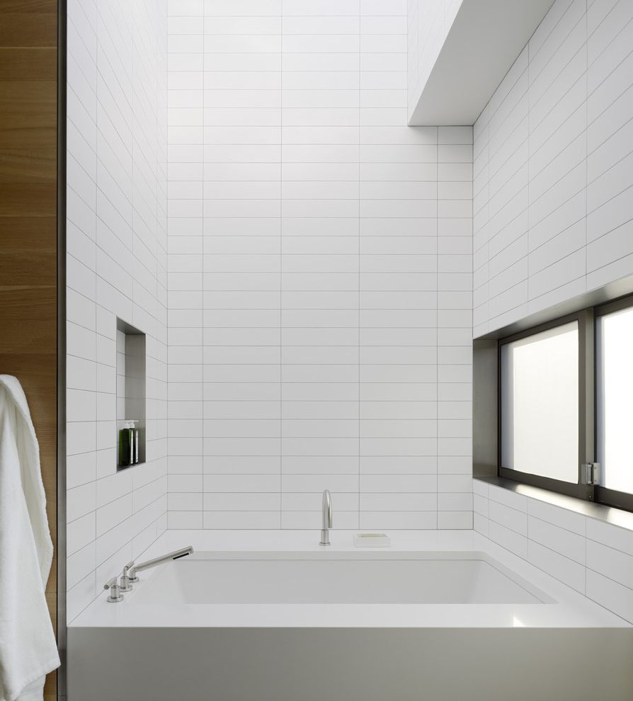 Ideal Tile Newton With Modern Bathroom And Bathroom Window Minimal Modern Bath Fixtures Monochromatic Niche Shower Shelf Sliding Window Soaking Tub Tile Wall White Bathroom Finefurnished Com