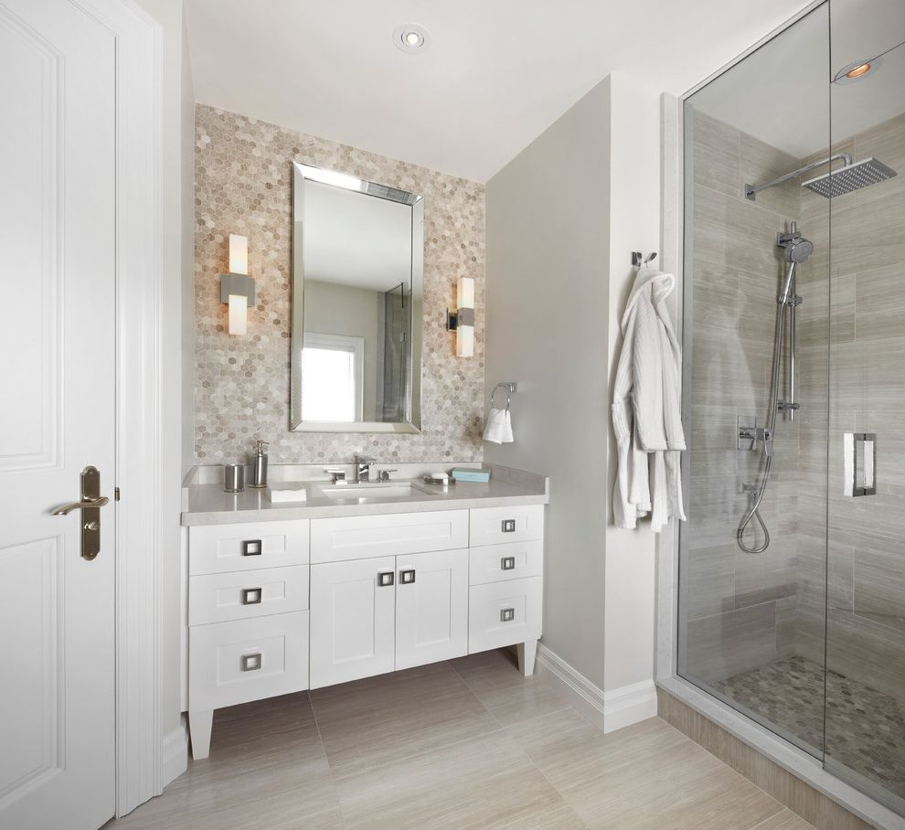 Tile Market Of Delaware With Contemporary Bathroom And Accent Wall Floor Tile Floor Tile Design Footstool Frosted Glass Grey Cabinets Grey Walls Kids Bathroom Lantern Mosaic Tile Penny Tile Shared Bathroom Shower