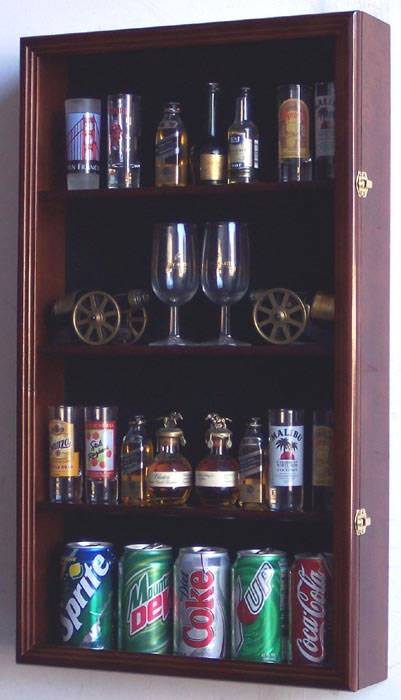 Home Bar Cabinet Shotglass Collector Case - Tall Shot Glass/mini Liquor