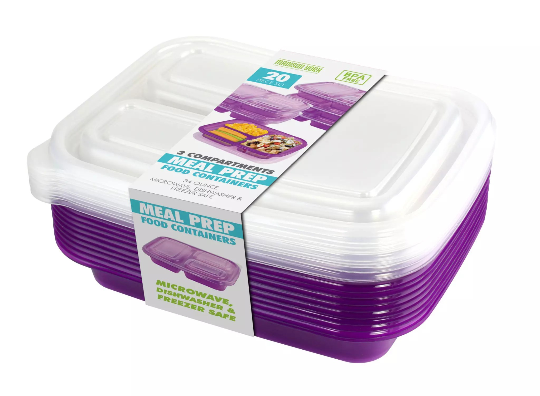 20 Piece Meal Prep Container Purple Fine Life Products