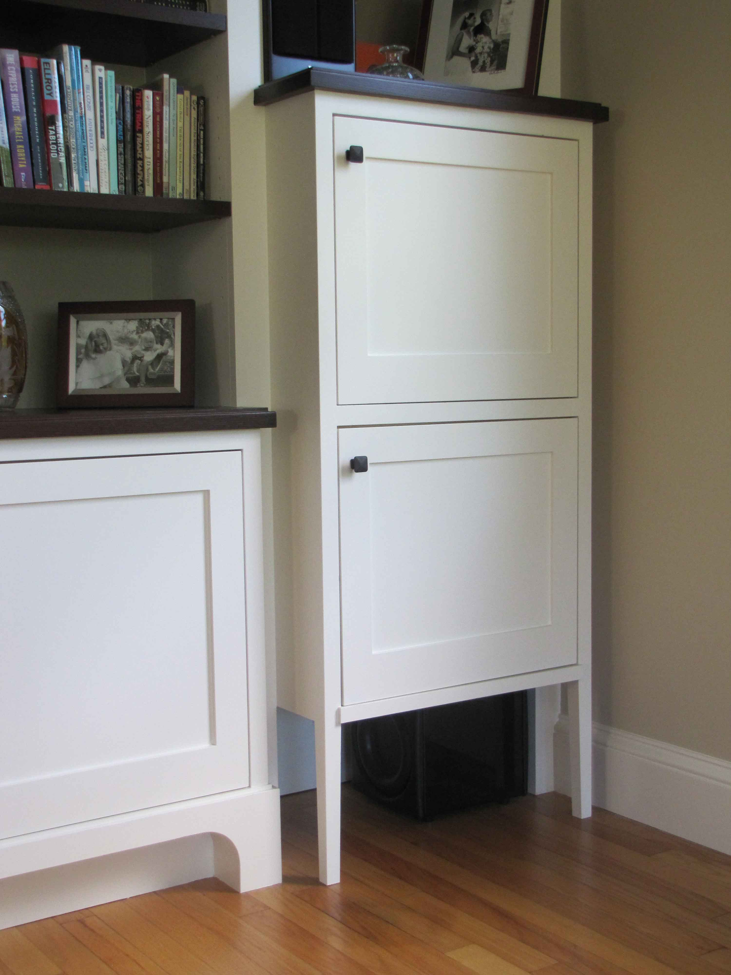 In Wall Media Cabinet White Painted Media Wall And Bookcases Fine Line Joinery