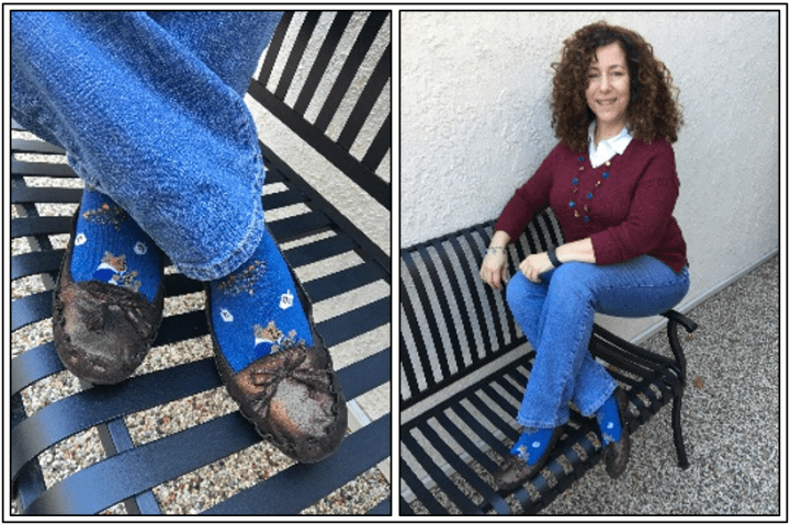 Day 13 - bronze loafers and another pair of Hanukkah socks