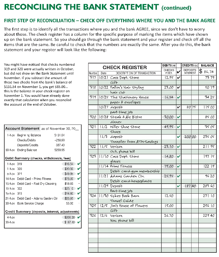 reconciling bank statements worksheet - Trisamoorddiner