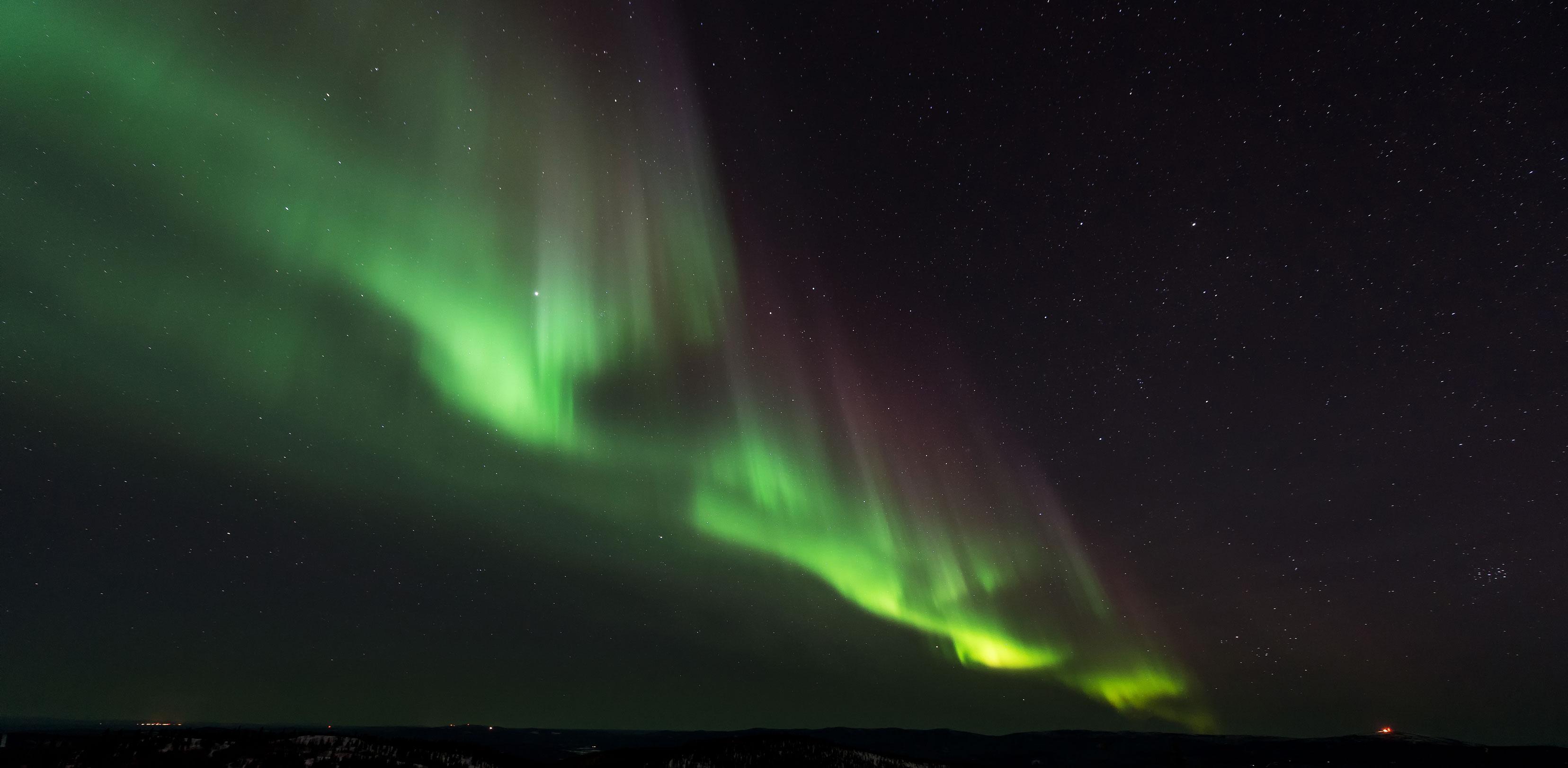 フィンランドのロバニエミではオーロラが見える
