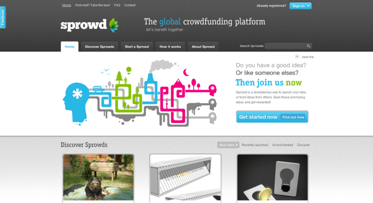 Sprowd home finno crowdfunding