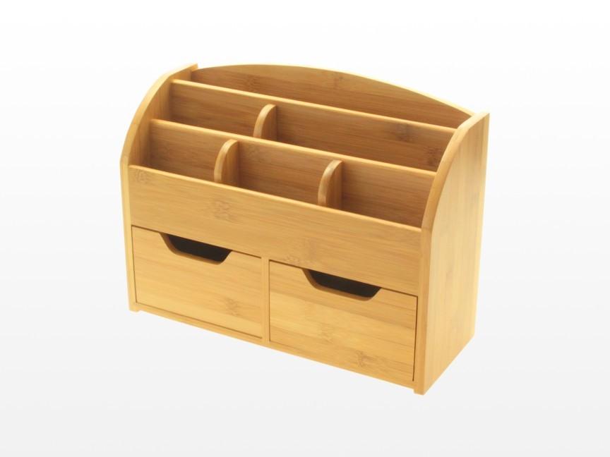 Desk Stationery Box Wall Mounted Organiser Bamboo
