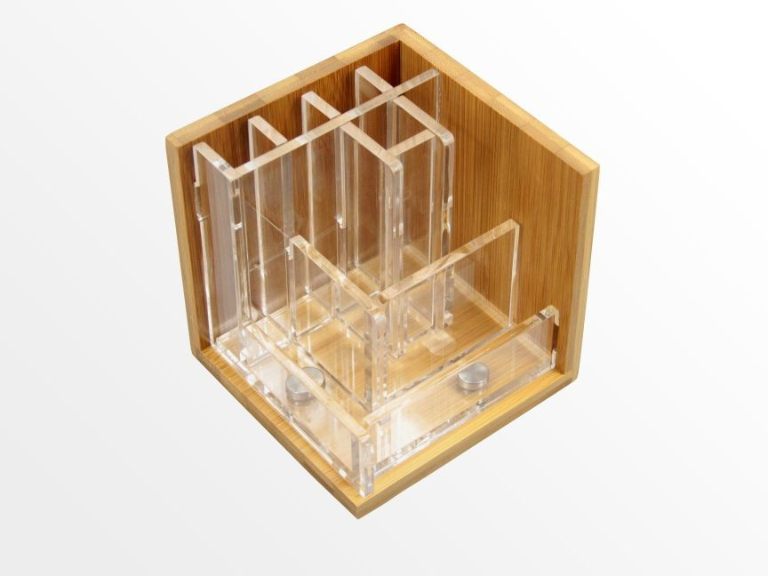 Pen Holder Stationary Stand Bamboo Pensil Pot Office