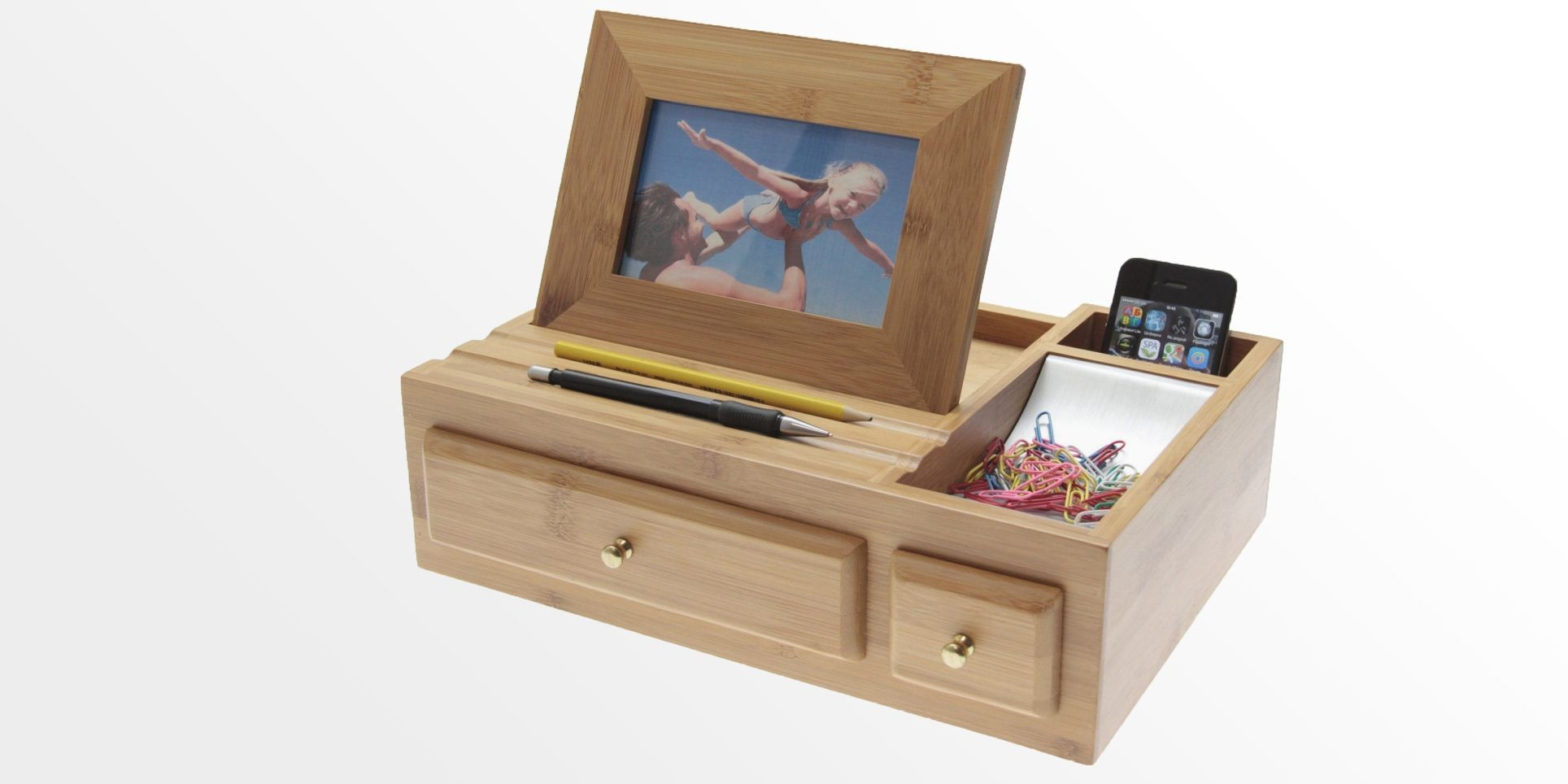 Desk Organiser Stationery Desk Organiser With Photo Frame Bamboo Stationary Box