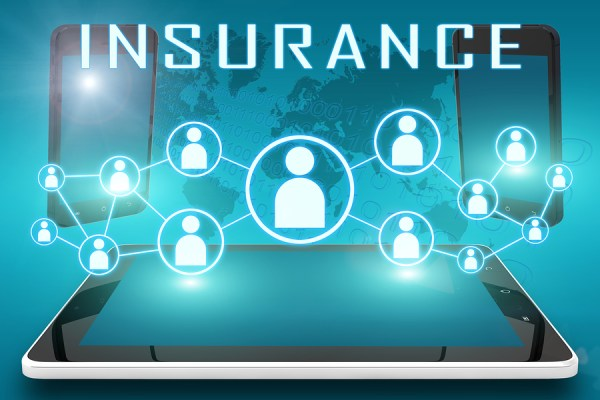 Insurance - text illustration with social icons and tablet computer and mobile cellphones on cyan digital world map background