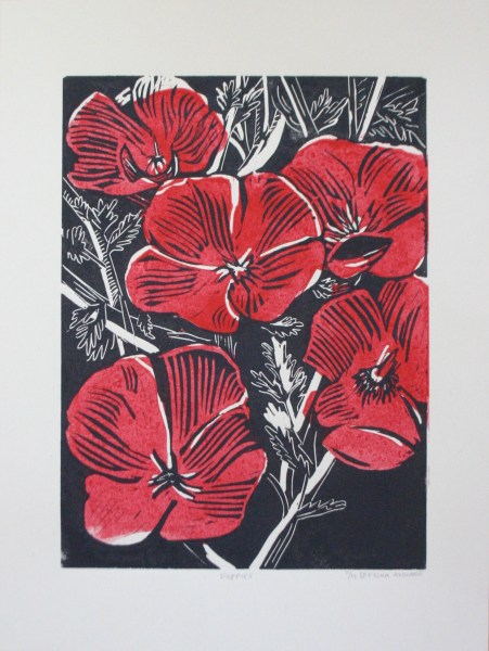 Poppies, two color linocut, 2016.