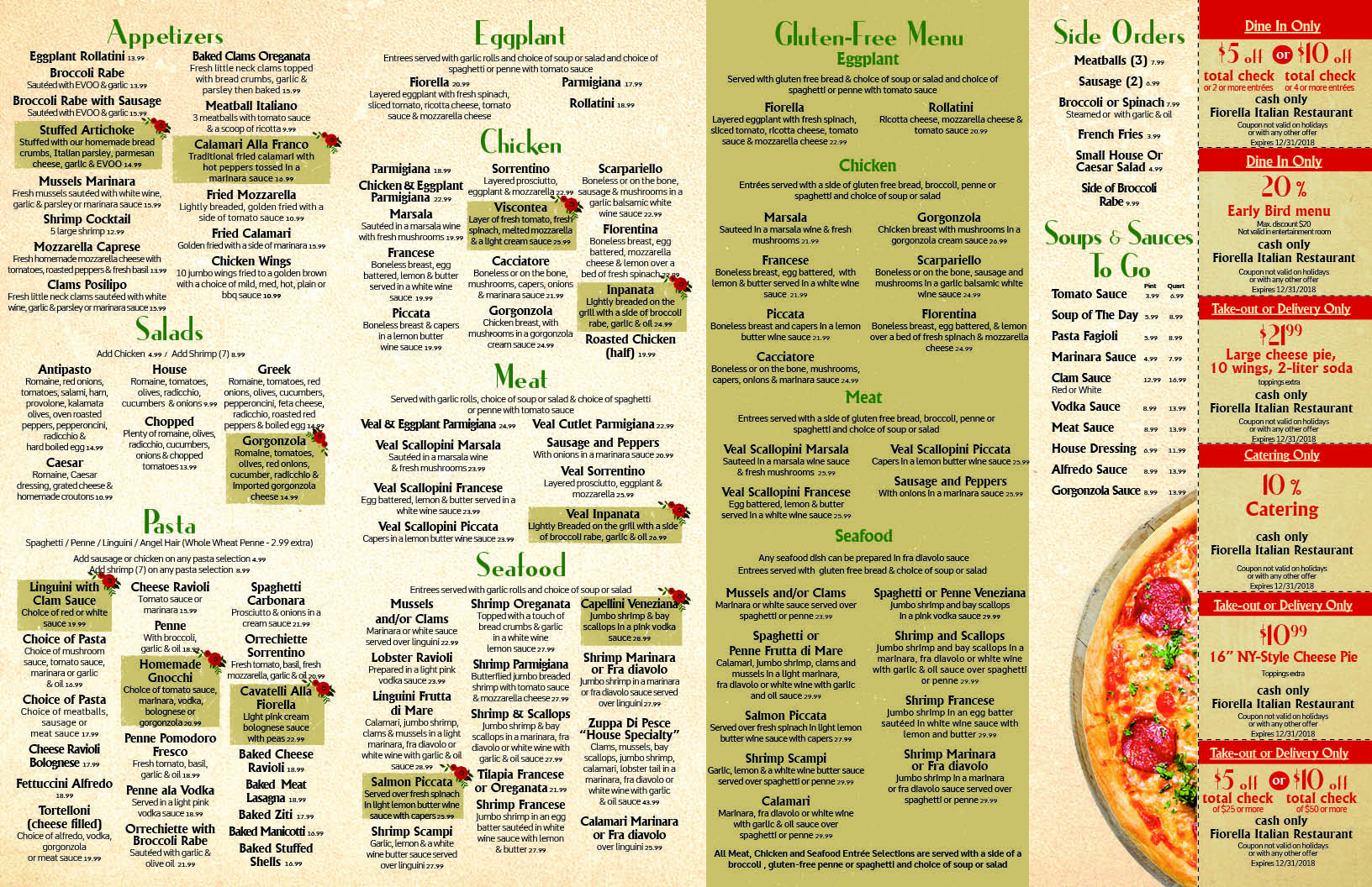 Italian Take Away Menu Take Out Menu Fiorella Italian Restaurant