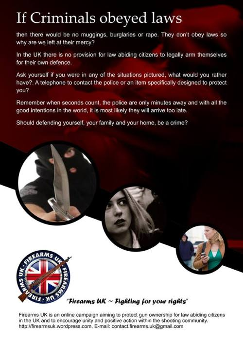 A meme created and published by Firearms UK on criminals and self defense