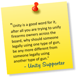 A quote from a Firearms UK - Unity campaign supporter