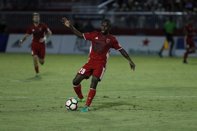 Phoenix Rising FC's Shaun Wright-Phillips dribbles with the ball in the first half against San Antonio FC July 29, 2017 at the Phoenix Rising Soccer Complex in Scottsdale, Ariz. Photo by Aaron Blau/Firebird Rising