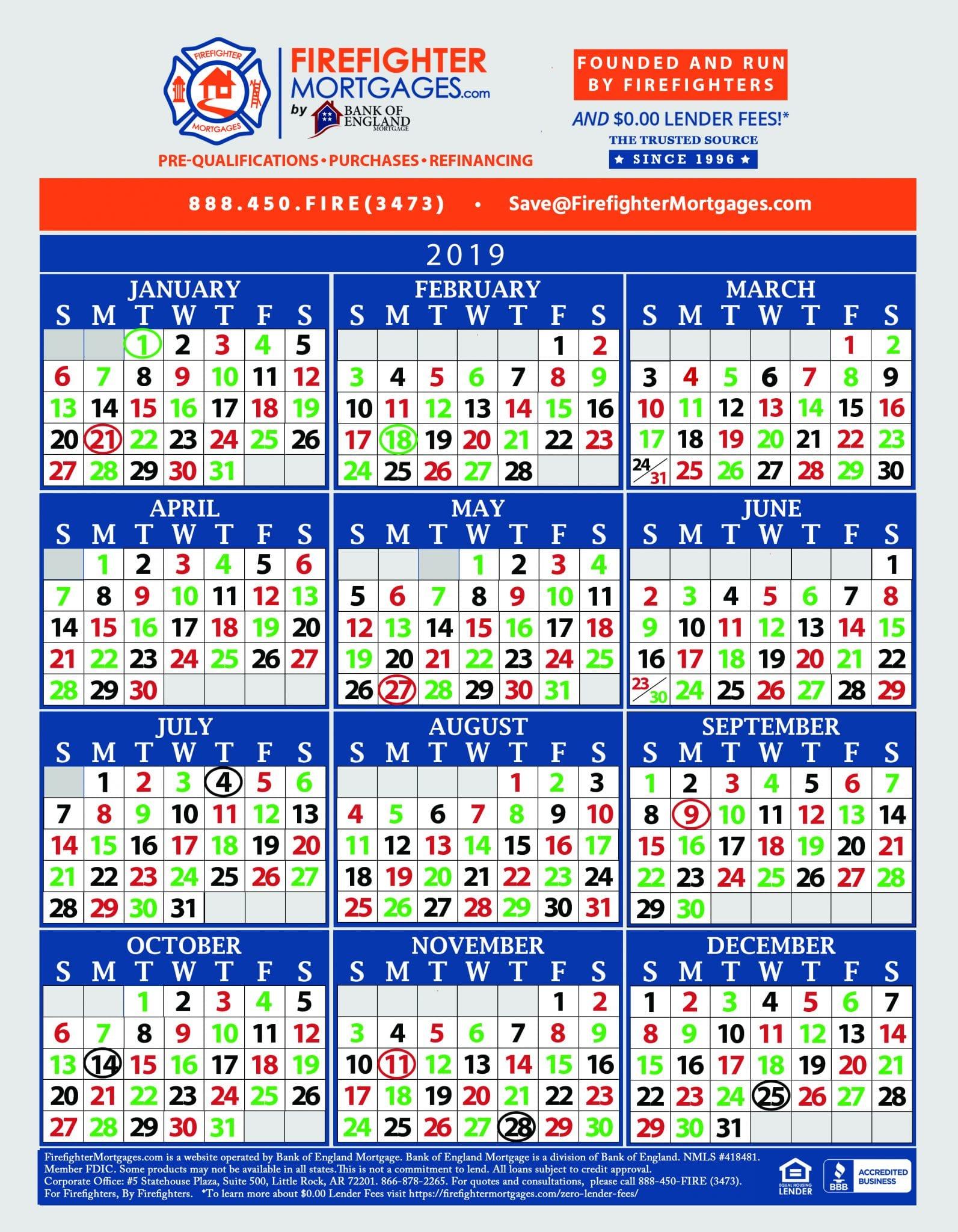 firefighter schedule calendar
