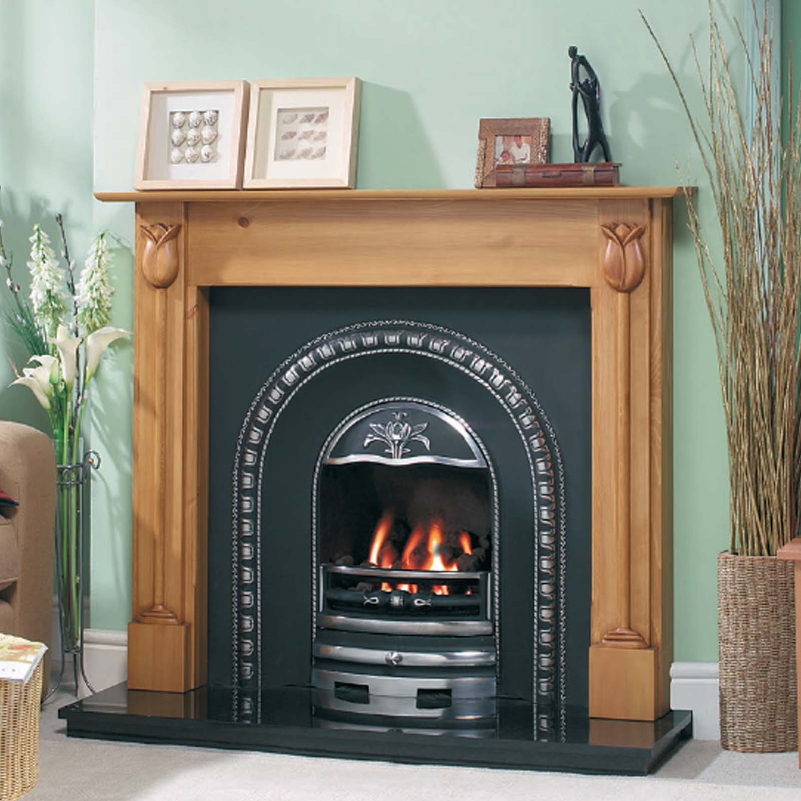 Electric Coal Fireplace Classic Design Cast Tec Tulip Arch Fireplace Insert