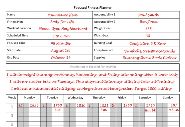 Fitness Planner The Planner I Used to Lose 26 pounds in 12 Weeks - fitness plan template