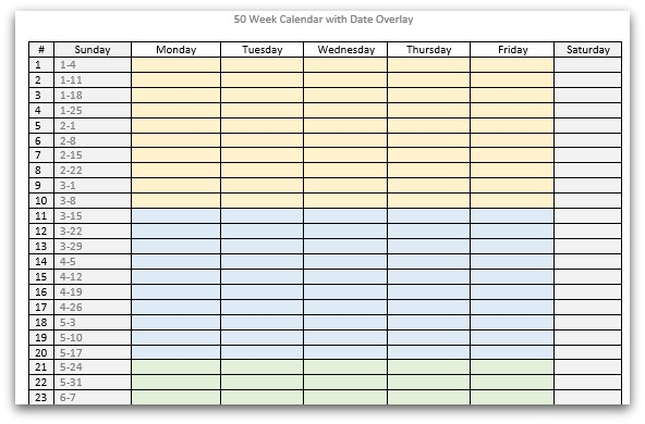 50 Week Calendar with Date Overlay # Sunday Monday Tuesday Wednesday