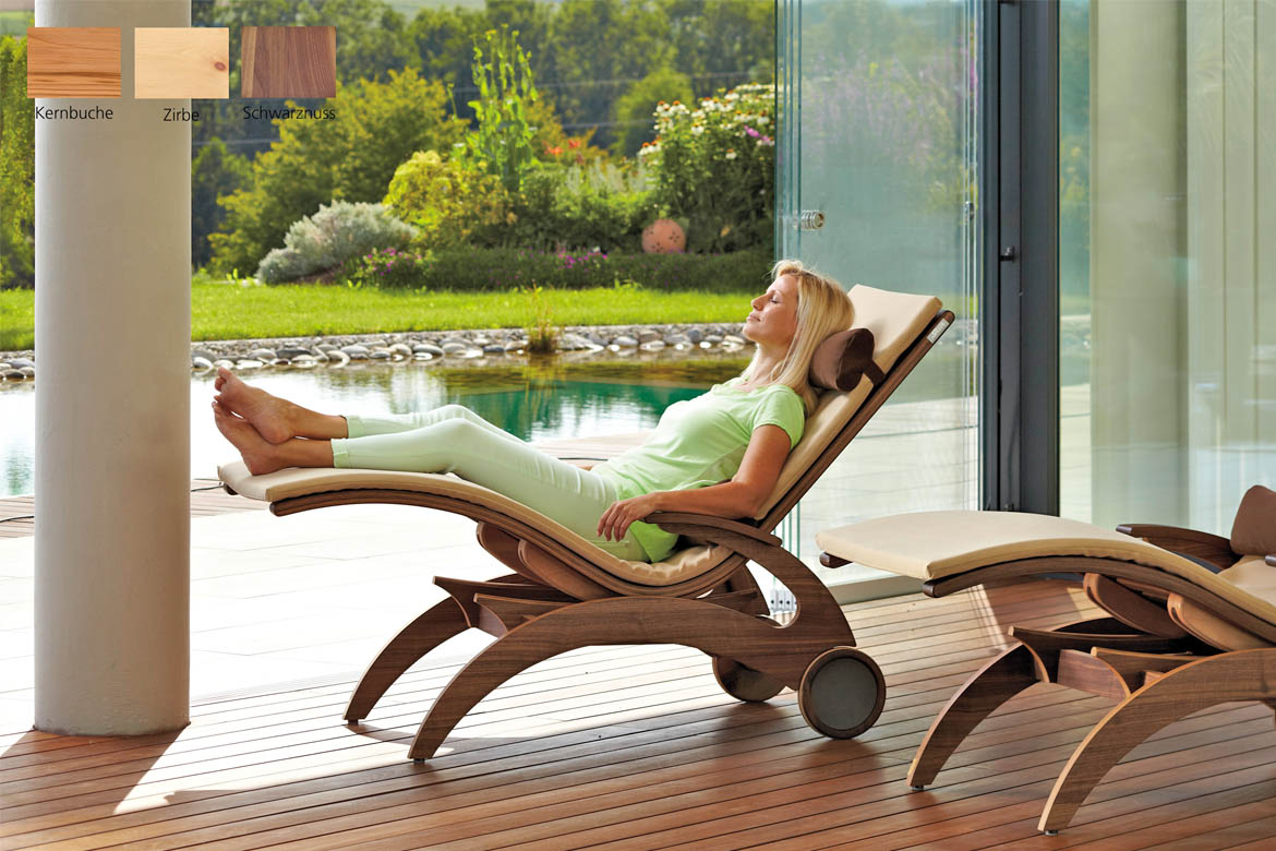 Wellnessliege Garten Wellnessliege Siesta Natur First Class Holz