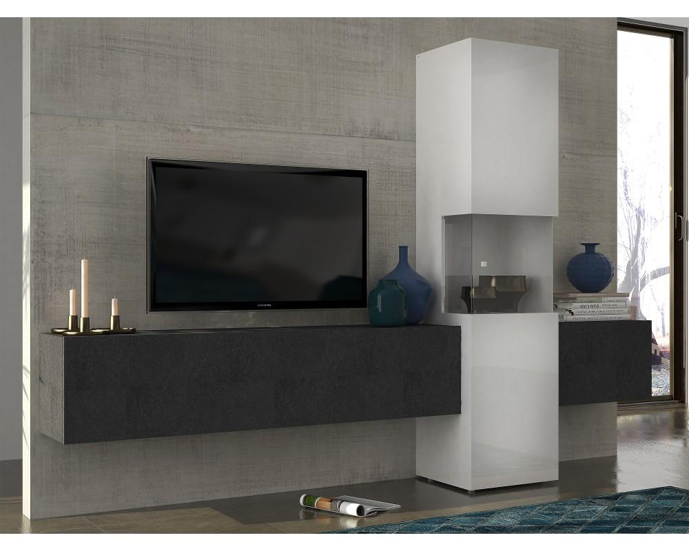 Mobilier Nitro Meuble Tv Meuble Tv Mural Gris Firstcdiscount
