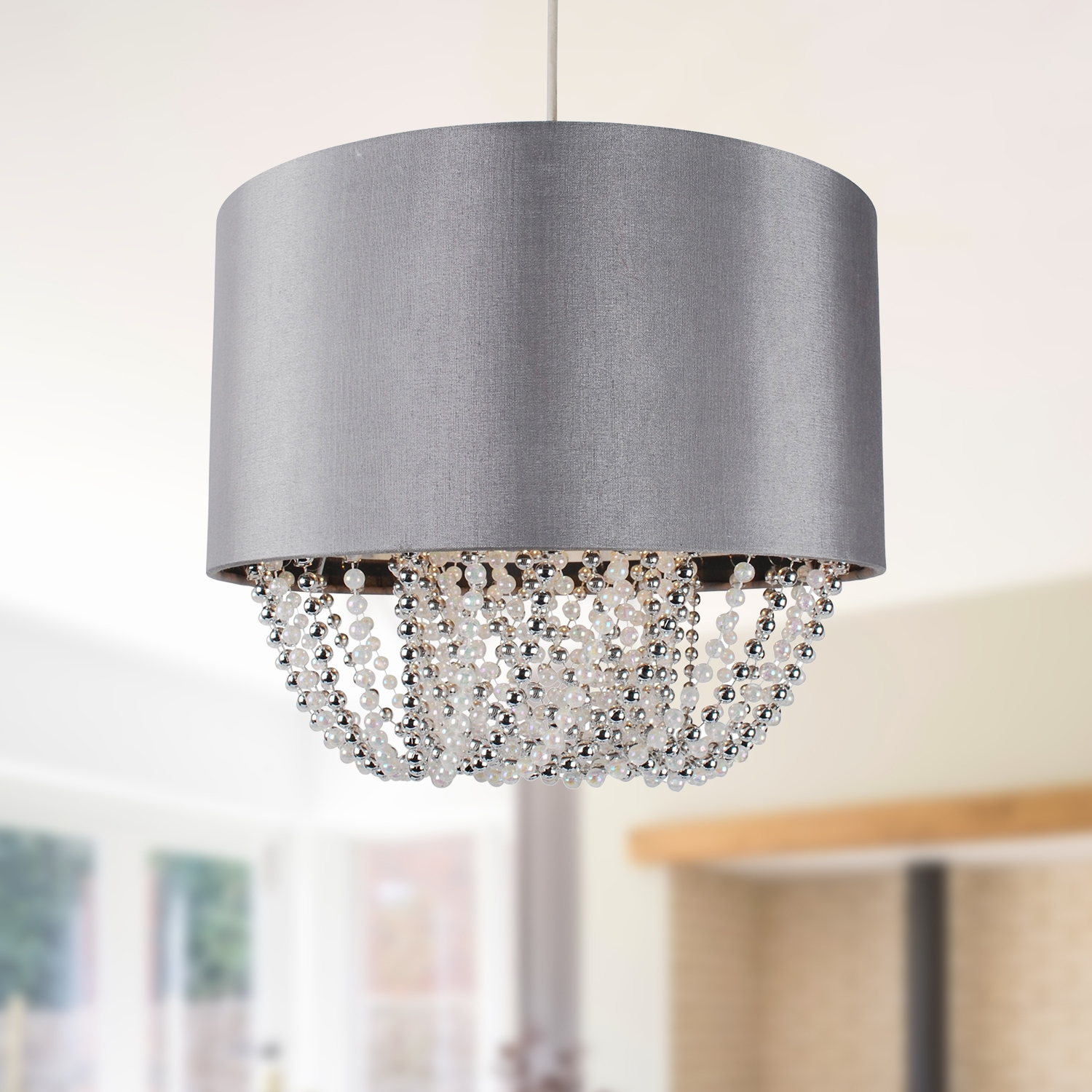 Grey Pendant Light Shade Grey Fabric Easy Fit Ceiling Light Shade W Chrome And Pearl