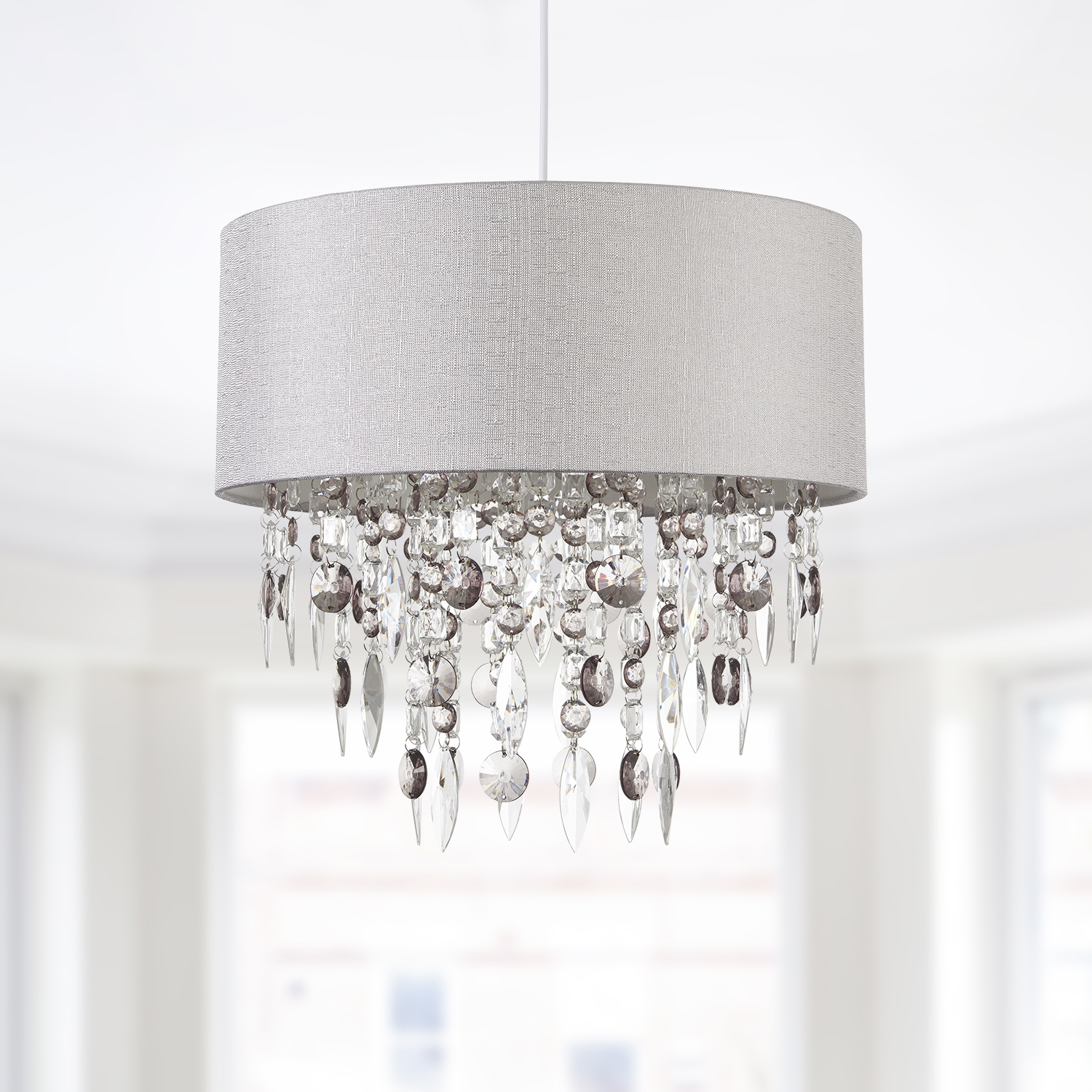 Ceiling Light Shades Details About Modern Large 40cm Easy Fit Jewelled Grey Ceiling Light Chandelier Lamp Shade