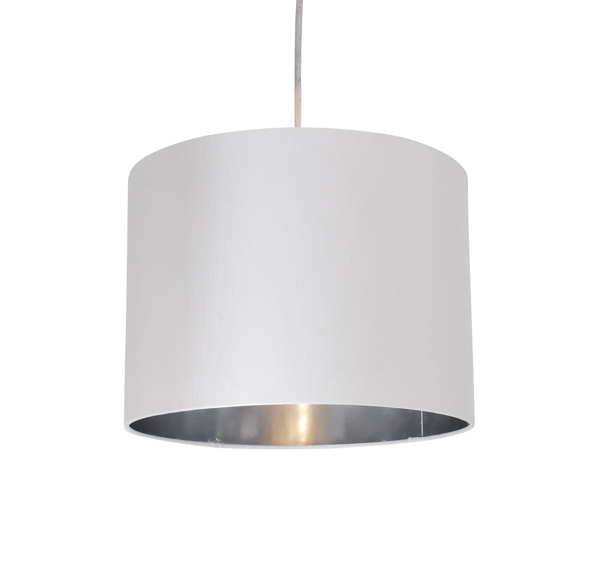 Ceiling Light Shades White Faux Silk 30cm Drum Light Shade With Chrome Inner