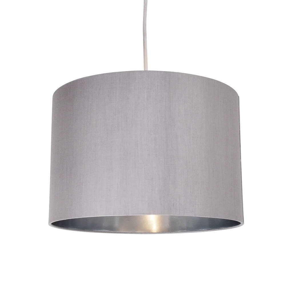 Ceiling Light Shades Grey Faux Silk 30cm Drum Light Shade With Chrome Inner