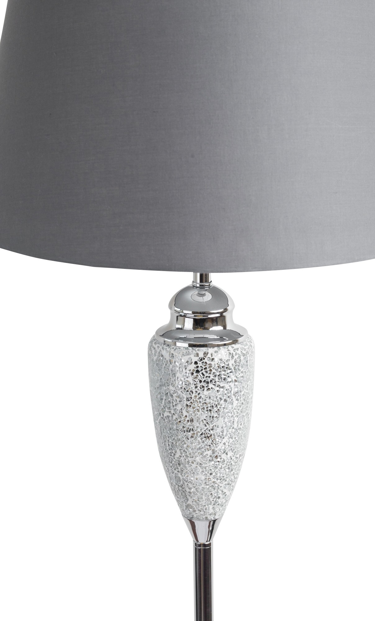 Glass Crackle Lamp Mirrored Crackle Glass Floor Lamp With Grey Shade