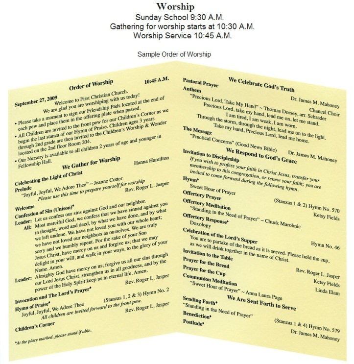 First Christian Church of Winchester, KY - Sunday Worship - church program