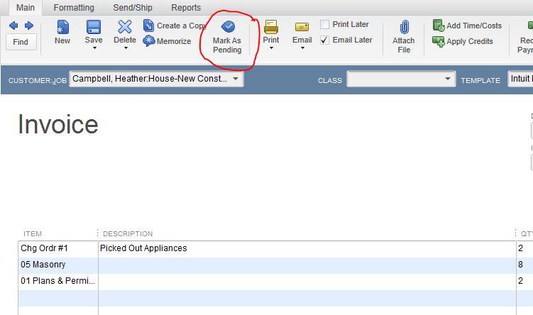 Making Invoice Pending  Removing Pending Stamp QuickBooks Desktop - making a invoice