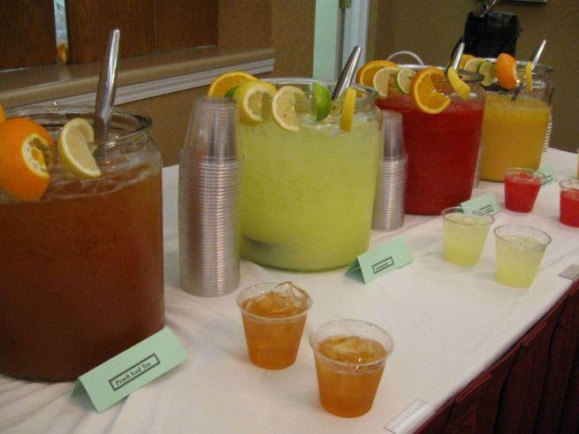 Peach Tea, Limeade, Cranberry Punch, Orange Juice