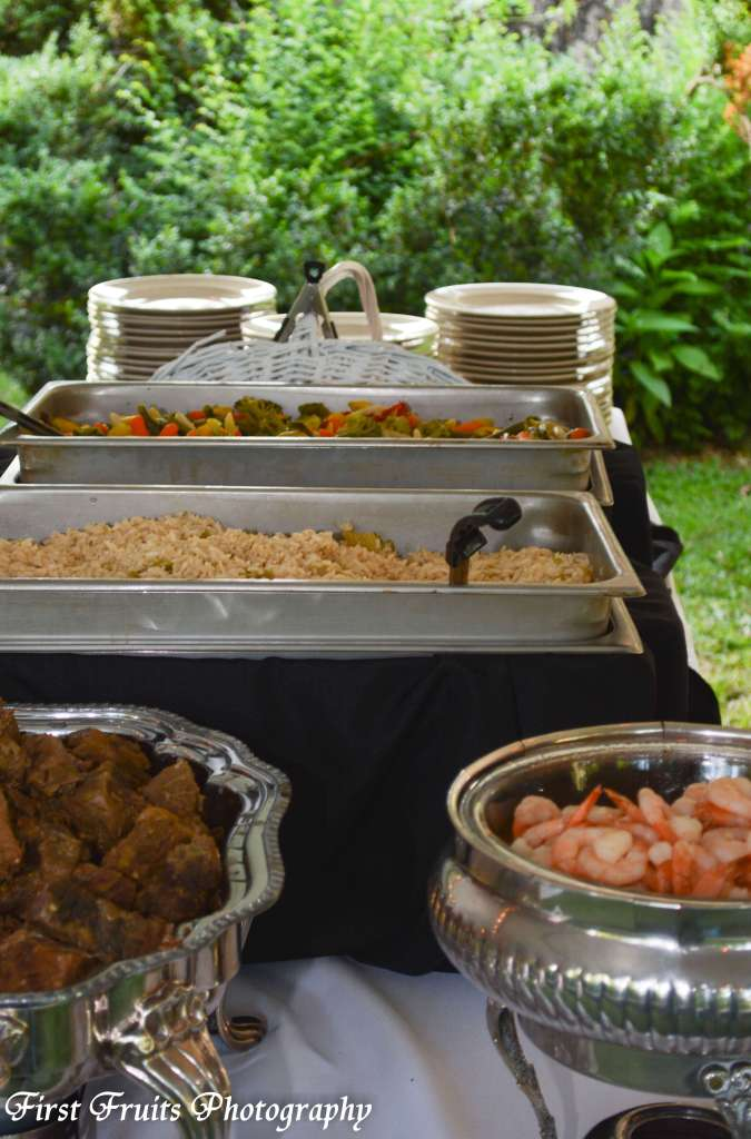 Shrimp Scampi, Rosemary Roast,  Rice Pilaf, Steamed Vegetables, Knoxville Wedding Catering, First Fruits Catering