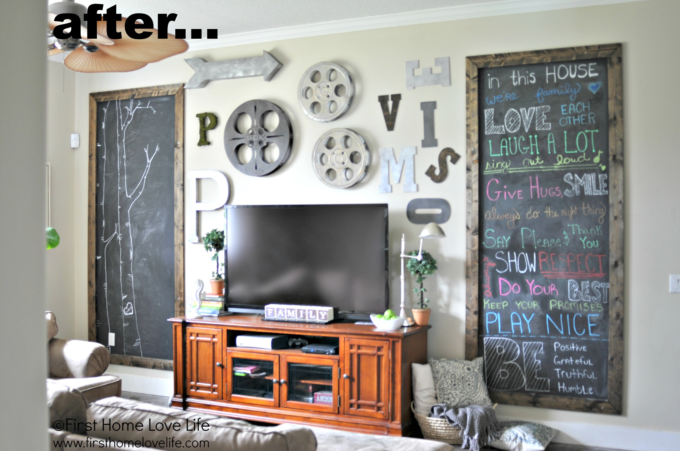 Hanging Art Above Tv Christmas Chalkboard Fireplace First Home Love Life