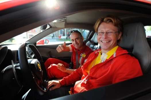Jason and a Ferrari instructor in a Ferrari458 at Fiorano in Italy.