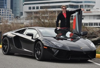 First Rides host Jason Grunsell. Lamborghini Aventador roadster.
