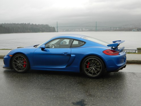 Porsche GT4 in Stanley Park, Lions Gate Bridge in the background. December 2015.