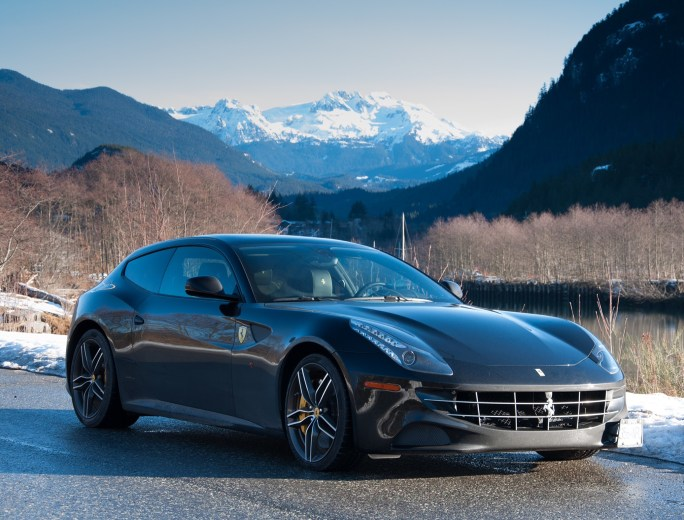 Test driving the Ferrari FF wirh Mount Garibaldi in the background. January 2016