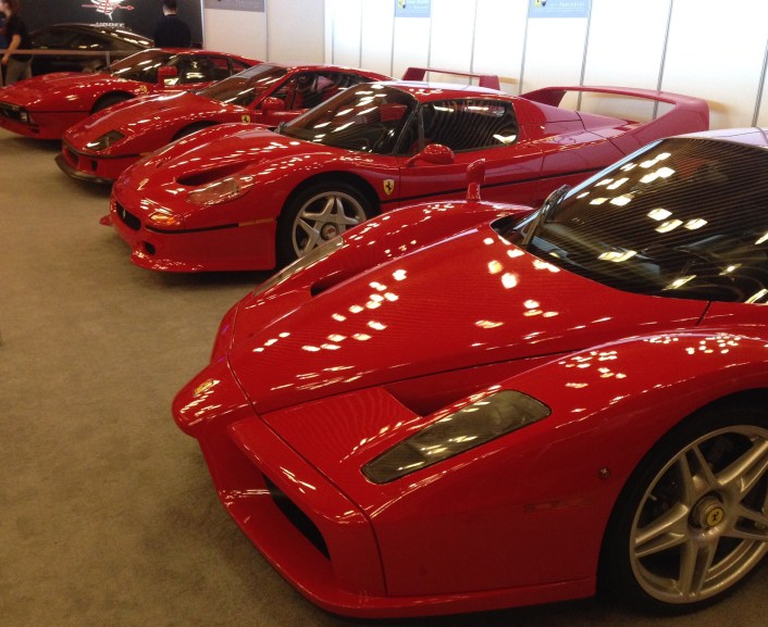 Ferrari collection of Brian Ross owner of Ferrari Maserati of Vancouver. L to R 288GTO, F40, F50, Enzo
