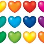 לב צבעוני גדול
