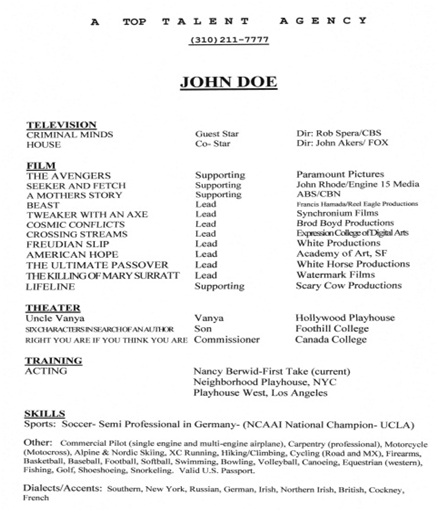 Theatrical Acting Resume 101 First Take